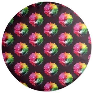 Fluro Flower Pattern Dark Round Cushion