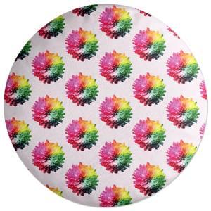 Fluro Flower Pattern Light Round Cushion