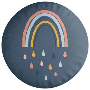 Rainbow And Rain Fall Round Cushion
