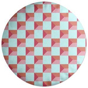 Colourful Check Round Cushion