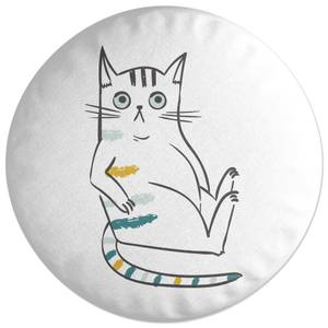 Inquisitive Cat Round Cushion