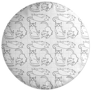 Cat Outline Pattern Round Cushion