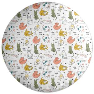 Colourful Cat Pattern Round Cushion