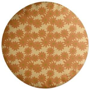Fuzzy Flowers Round Cushion
