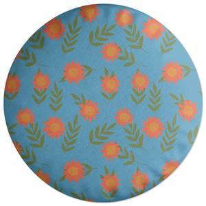 Retro Sunflowers Round Cushion