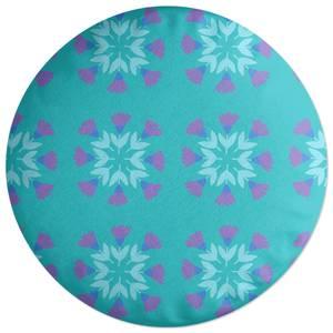 Retro Flower Circles Round Cushion