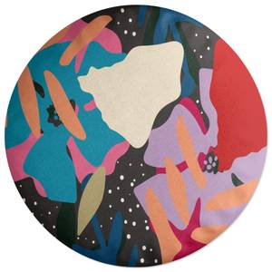 Retro Abstract Leaves Round Cushion