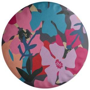Giant Retro Flowers Round Cushion