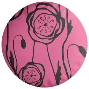 Retro Poppy Round Cushion