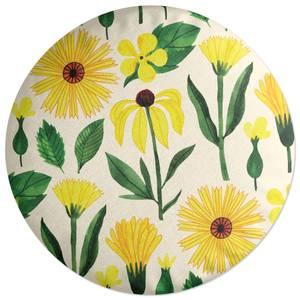 Retro Mellow Flowers Round Cushion