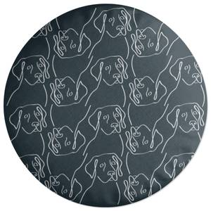 Abstract Dog Pattern Round Cushion