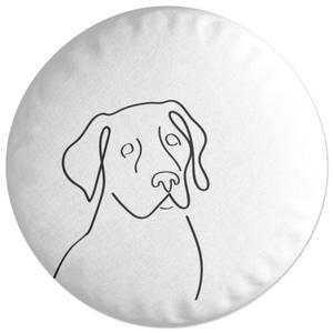 Line Drawing Dog Round Cushion