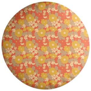 60s Orange Floral Round Cushion