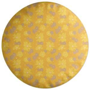 Yellow 60s Flower Round Cushion