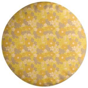 60s Flower Print Round Cushion
