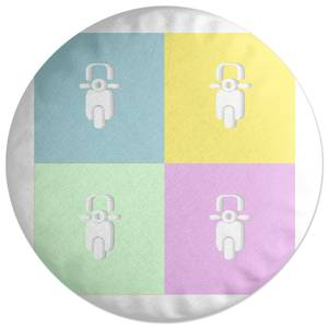 Moped Colours Round Cushion