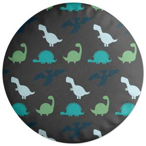 Dino Silhouette Pattern Round Cushion