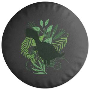 T-Rex Silhouette Foliage Round Cushion