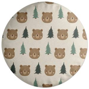 Bear And Forest Pattern Round Cushion
