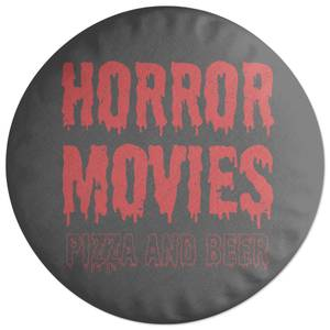 Horror Movie Pizza And Beer Round Cushion