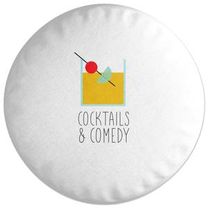 Cocktails And Comedy Round Cushion