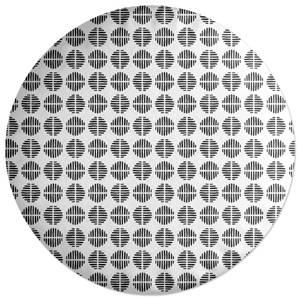 Retro Black And White Circles Round Cushion