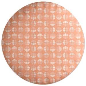 Retro Peach Circles Round Cushion