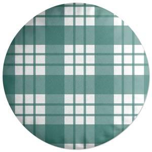 Tartan Green Round Cushion
