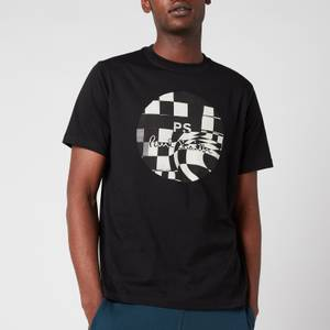 PS Paul Smith Men's Regular Fit Chequered Circle T-Shirt - Black