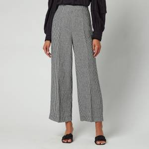 Whistles Women's Check Linen Cropped Trousers - Navy