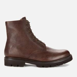 Grenson Men's Hadley Grained Leather Lace Up Boots - Dark Brown