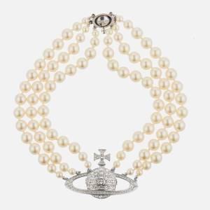 Vivienne Westwood Women's Three Row Pearl Bas Relief Choker - Rhodium Pearl Crystal