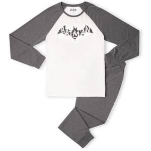 DC Batman Distressed Emblem Men's Pyjama Set - White/Grey