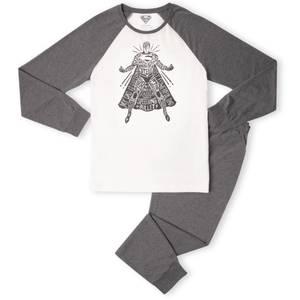 DC Superman Man Of Steel Men's Pyjama Set - White/Grey
