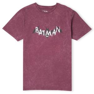 DC Batman Distressed Emblem  Men's T-Shirt - Burgundy Acid Wash