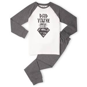 DC Dad You're My Superman Kids' Pyjamas - White/Grey