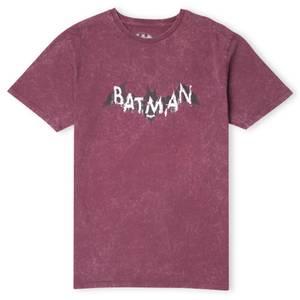 DC Batman Distressed Emblem  Kids' T-Shirt - Burgundy Acid Wash