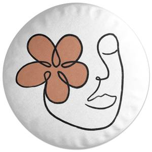 Abstract Flower Face Round Cushion