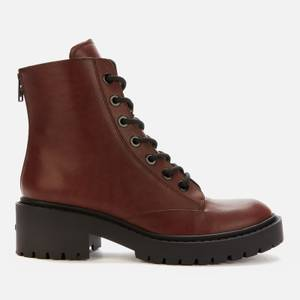KENZO Women's Pike Leather Lace-Up Boots - Dark Brown