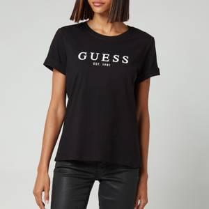 Guess Women's 1981 Roll Cuff Logo T-Shirt - Jet Black