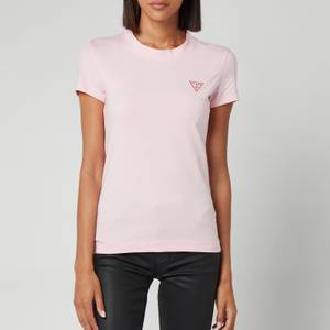 Guess Women's Short Sleeve Crewneck Mini Triangle T-Shirt - Taffy Light Pink
