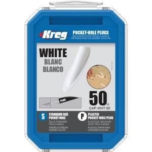 Kreg CAP-WHT-50 White Plastic Pocket-Hole Plugs - 50 Pack