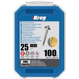 "Kreg SML-C1-100-EUR Zinc Pocket-Hole Screws - 25mm / 1.00"", #8 Coarse-Thread, Maxi-Loc - 100 Pack"