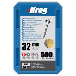 "Kreg SML-C125-500-EUR Zinc Pocket-Hole Screws - 32mm / 1.25"", #8 Coarse-Thread, Maxi-Loc - 500 Pack"