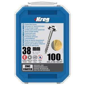 "Kreg SML-C150-100-EUR Zinc Pocket-Hole Screws - 38mm / 1.50"", #8 Coarse-Thread, Maxi-Loc - 100 Pack"