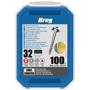 "Kreg SML-C125-100-EUR HD Protec-Kote Pocket-Hole Screws - 64mm / 2.50"", #14 Coarse-Thread, Maxi-Loc - 100 Pack"
