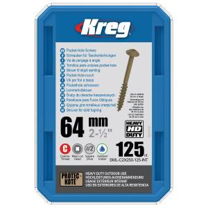"Kreg SML-C2X250-125-EUR HD Protec-Kote Pocket-Hole Screws - 64mm / 2.50"", #14 Coarse-Thread, Maxi-Loc - 125 Pack"