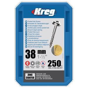"Kreg SML-C150-250-EUR Zinc Pocket-Hole Screws - 38mm / 1.50"", #8 Coarse-Thread, Maxi-Loc - 250 Pack"