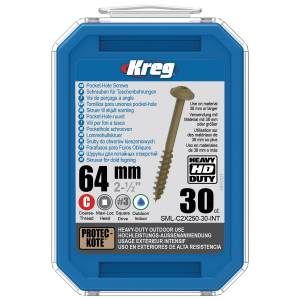 "Kreg SML-C2X250-30-EUR HD Protec-Kote Pocket-Hole Screws - 64mm / 2.50"", #14 Coarse-Thread, Maxi-Loc - 30 Pack"