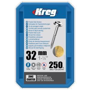 """Kreg SML-F125-250-EUR Zinc Pocket-Hole Screws - 32mm / 1.25"""", #7 Fine-Thread, Maxi-Loc - 250 Pack"""